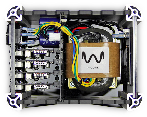 Robust, powerful R-core transformer for quiet, clean, reliable power to all of your devices and Compact, lightweight chassis made of high-quality composite, acrylic and aluminum